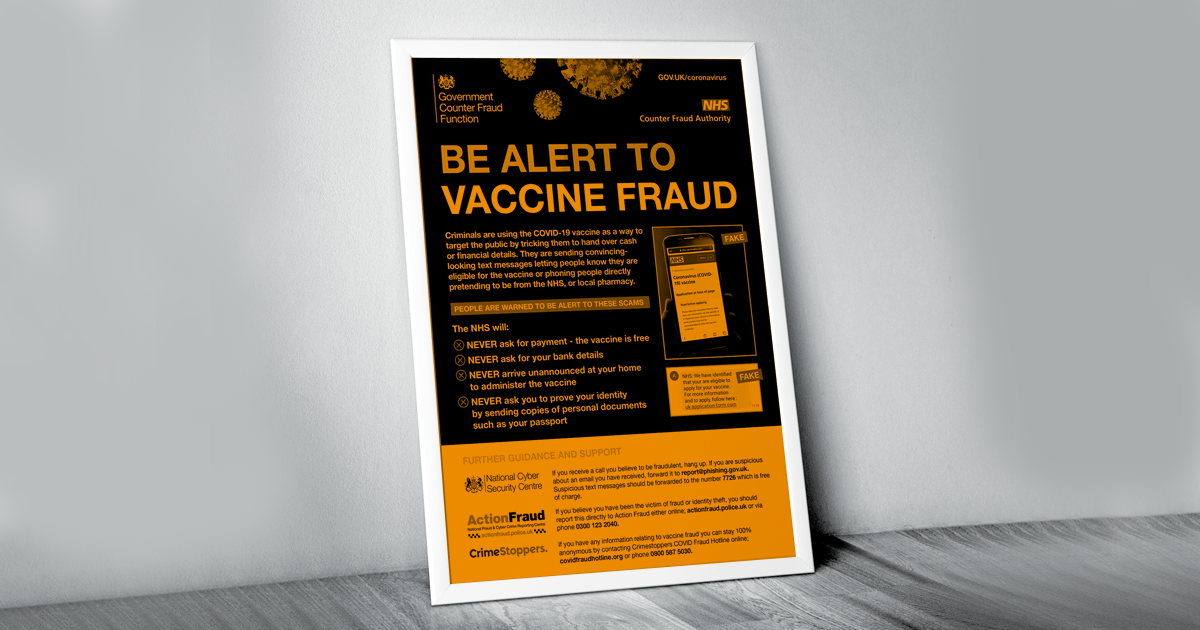 Image of poster showing be alert to vaccine fraud