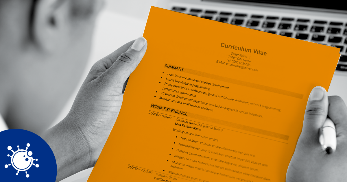 Image of a person holding a CV