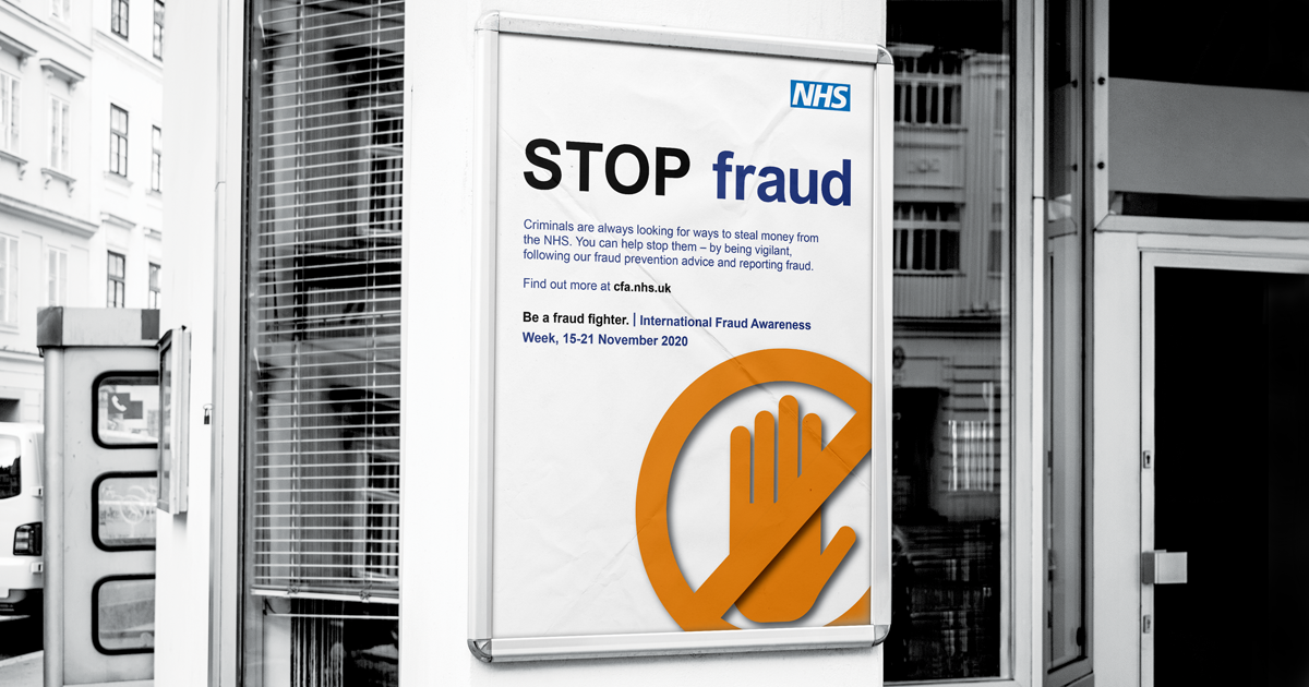 An NHSCFA 'Stop Fraud' poster displayed on a wall on the entrance of a building.