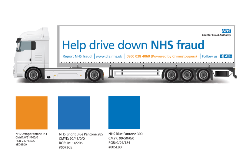 Image of the NHS fraud supply chain trucks carring the NHSCFA fraud awarness message.