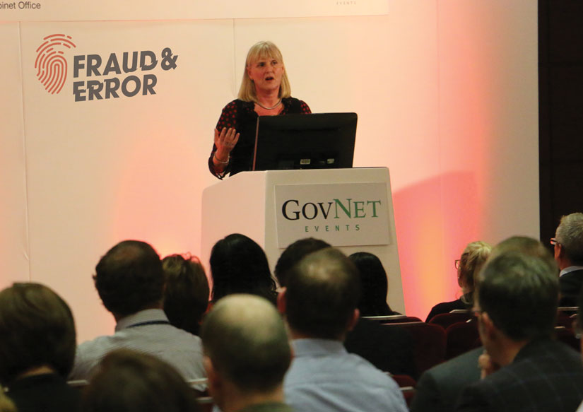 Sue Frith (Intrim CEO NHS Counter Fraud Authority conducting a NHS fraud awarness presentation at the Fraud and Error Conference 2018)